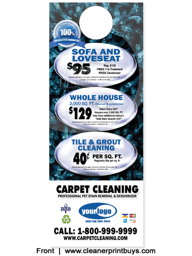Carpet Cleaning Door Hangers 4 25 X 11 C0007 Aq Gloss